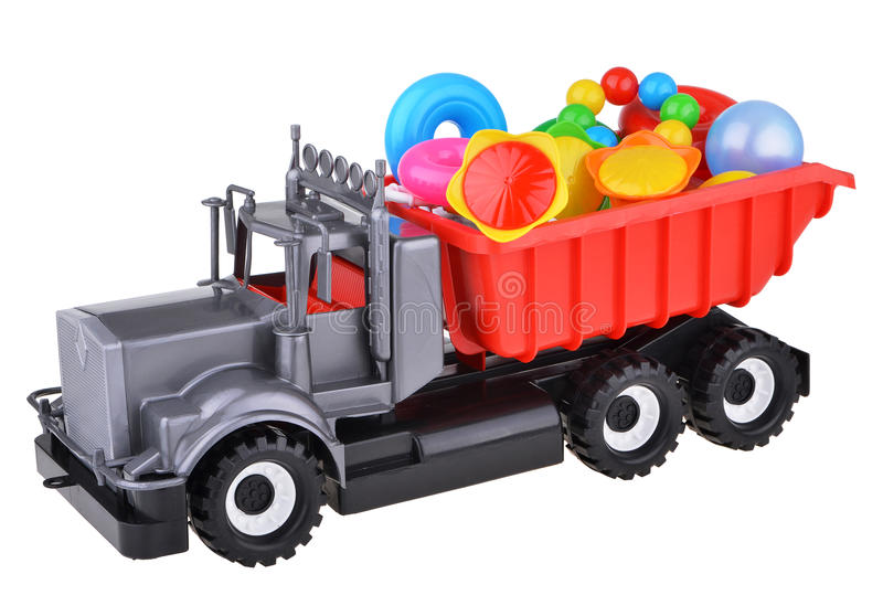 Plastic toy truck with toys royalty free stock images