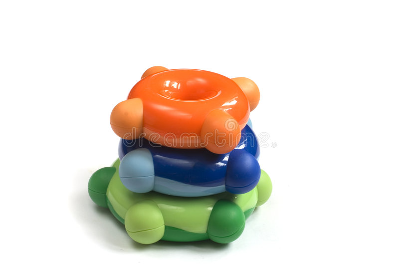 Plastic toys. Plastic colorful toys isolated on white royalty free stock photography