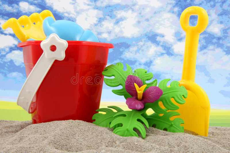 Plastic toys for beach and vacation. Plastic toys for playing on beach and vacation stock photos