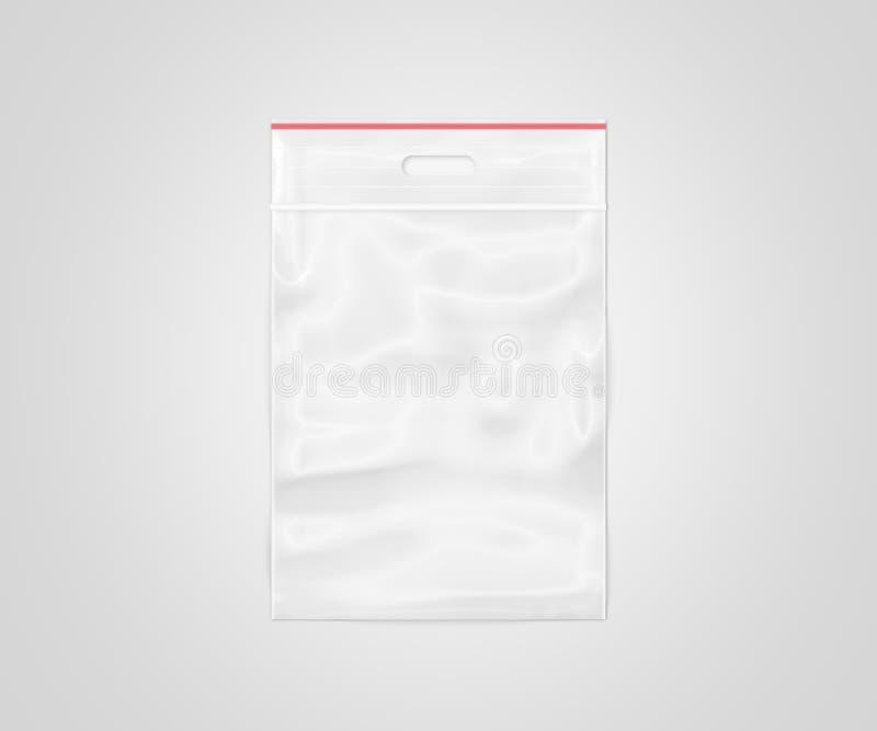 Plastic transparante geïsoleerde ritssluitingszak stock afbeeldingen