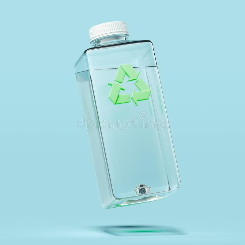 Plastic transparent bottle with recycling sign on blue background. 3d rendering. Plastic transparent bottle with green recycling sign isolated on light blue vector illustration