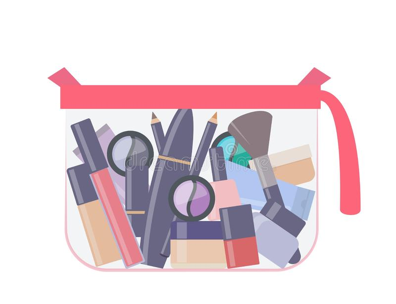 Plastic transparent cosmetic bag with makeup products. Different decorative cosmetics. Everything for make up. Vector illustration. Plastic transparent cosmetic stock illustration