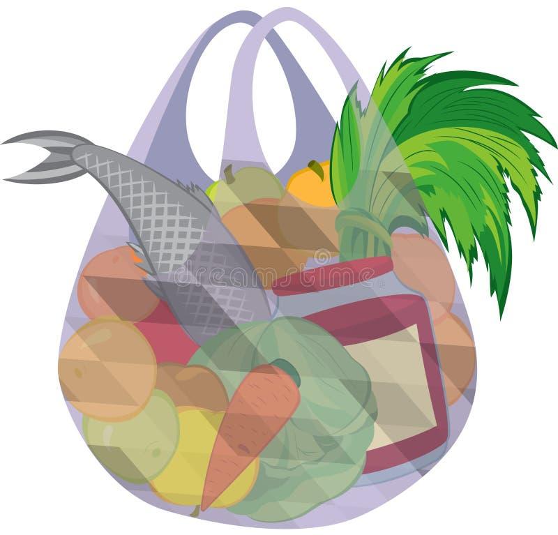 Plastic transparent shopping bag full of fruits vegetables and f stock illustration