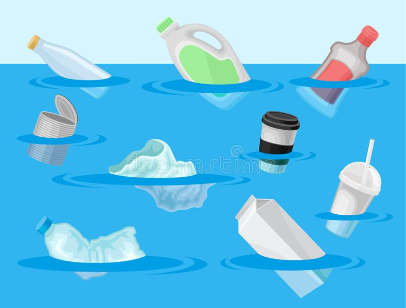 Rubbish floating in the water. Vector illustration on white background. stock illustration