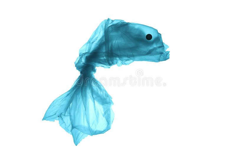 Plastic trash in the sea. Pollution of the world ocean waste. Silhouette of fish from a used plastic bag. Isolated on white royalty free stock image