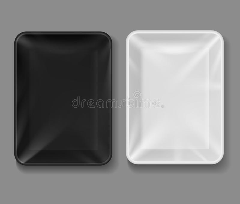 Plastic tray. Food package with transparent wrap, black and white empty containers for vegetables, meat. Vacuum boxes 3d stock illustration