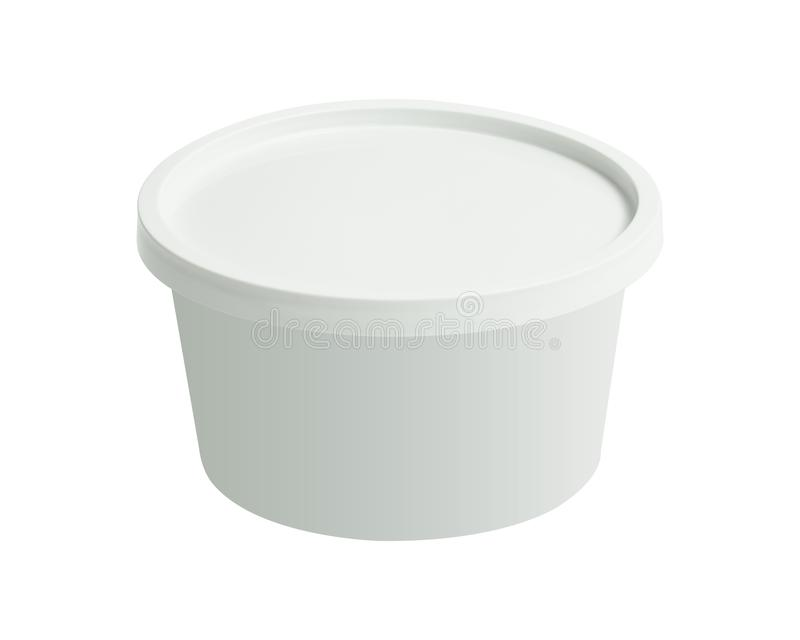 Plastic tub bucket container isolated on white background. Blank cup with cover template. Clipping path. Plastic tub bucket container isolated on white royalty free stock image