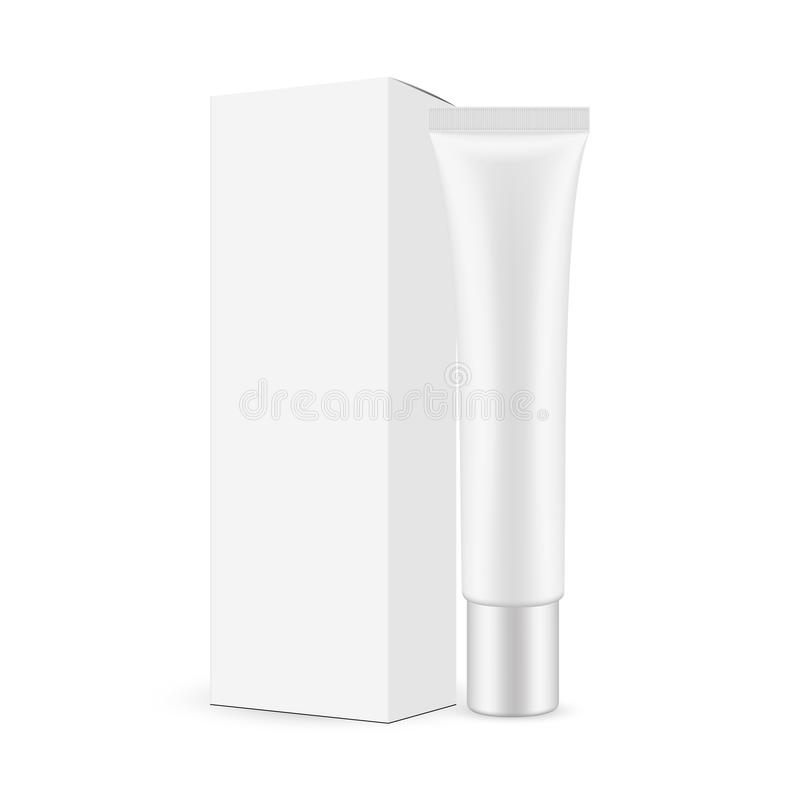 Plastic tube with paper box isolated on white background royalty free illustration