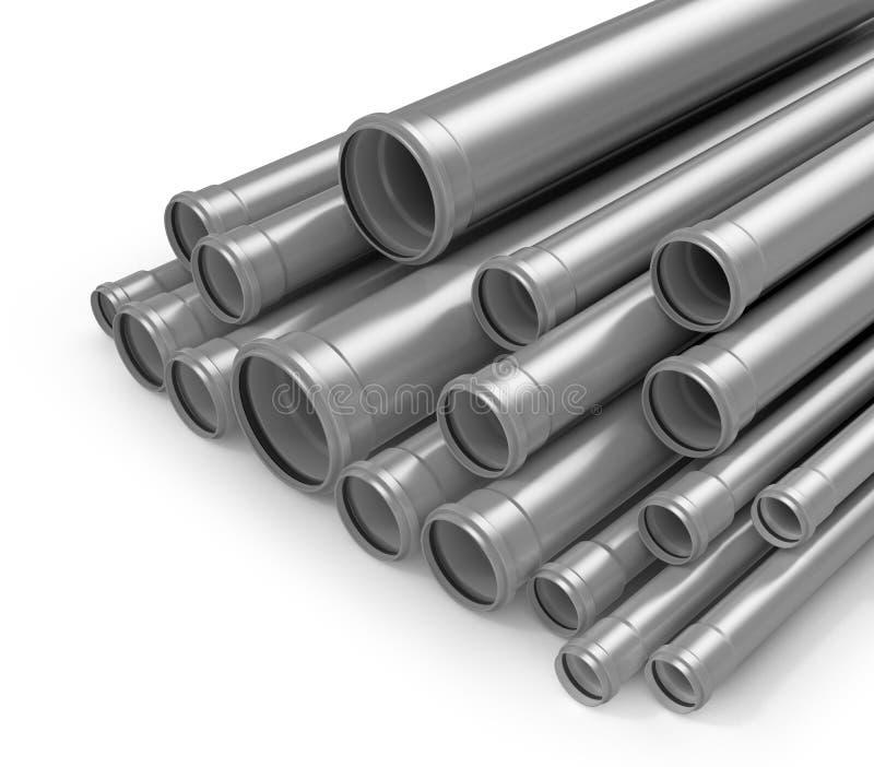 Plastic tubes isolated white background. Polypropylene pipes. 3D illustration stock illustration