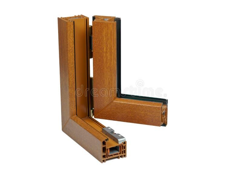 Plastic vensterprofiel Vensterssectie met drievoudige verglazing stock afbeelding