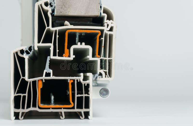 Plastic vensterprofiel Vensterssectie met drievoudige verglazing royalty-vrije stock fotografie