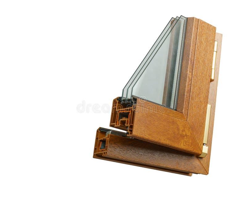 Plastic vensterprofiel Vensterssectie met drievoudige verglazing stock fotografie