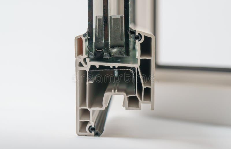 Plastic vensterprofiel Vensterssectie met drievoudige verglazing stock afbeeldingen