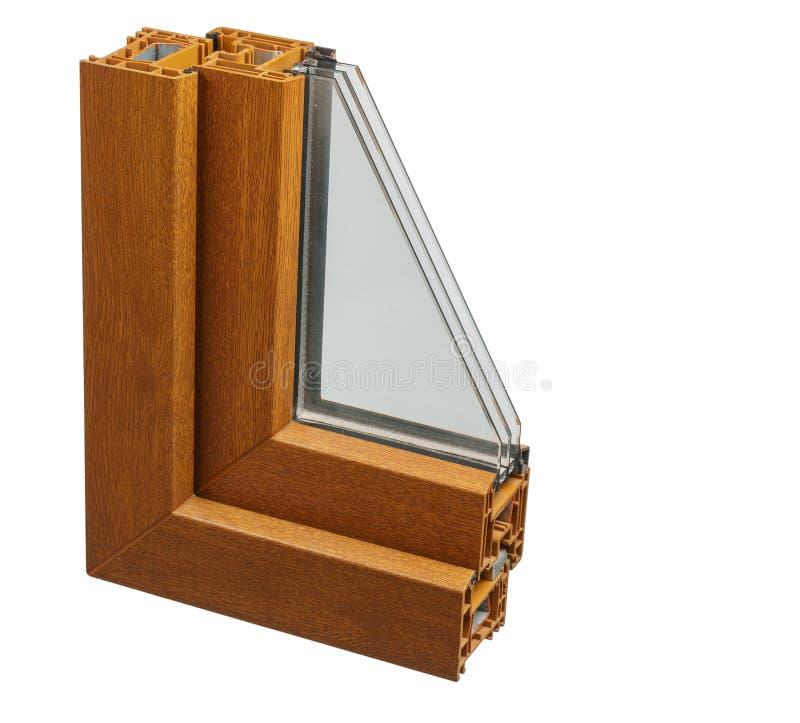 Plastic vensterprofiel Vensterssectie met drievoudige verglazing royalty-vrije stock foto