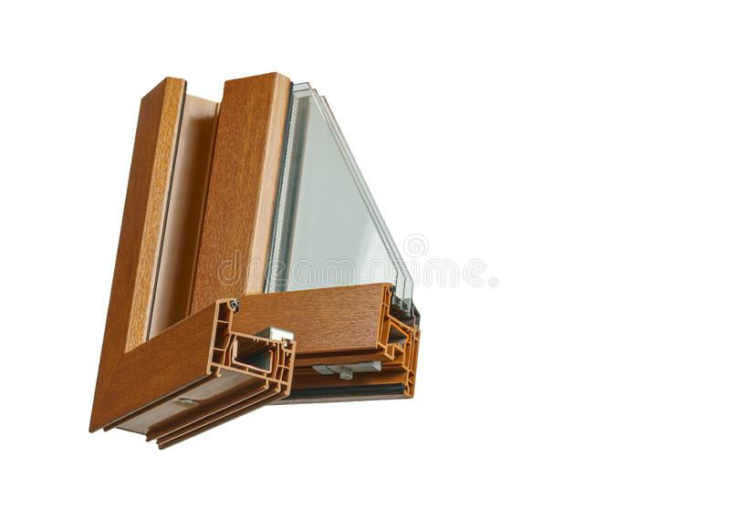 Plastic vensterprofiel Vensterssectie met drievoudige verglazing royalty-vrije stock afbeelding
