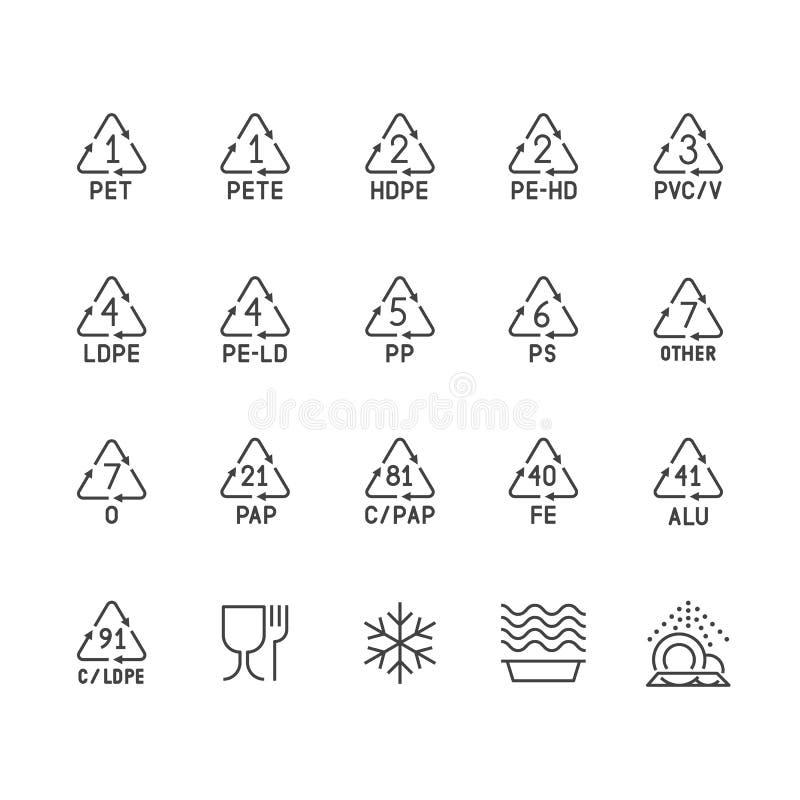 Plastic verpakkende lijnpictogrammen Afval het polyethyleen van recyclingssymbolen, pvc, huisdierenpakket Vectortekens van voedse vector illustratie