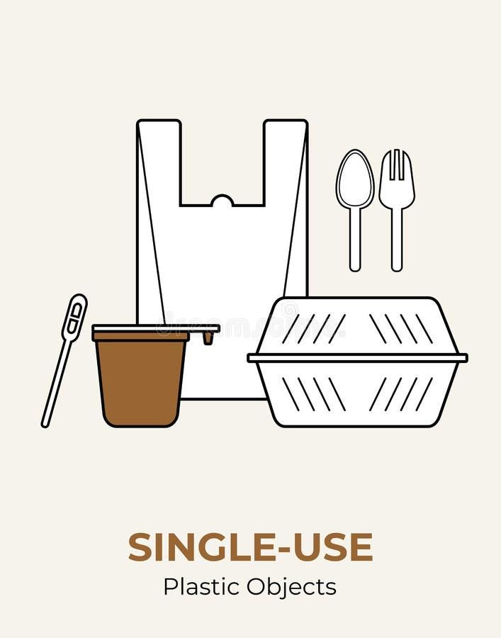 Plastic voedselcontainer, zak, kop, lepel, vork, opruier De witte plastic reeks voor ??nmalig gebruik van de bestek vectorillustr royalty-vrije illustratie
