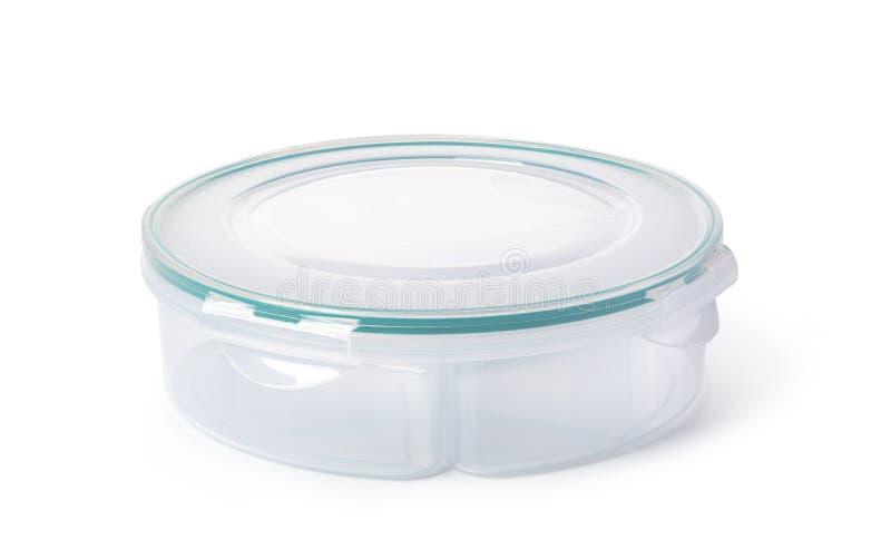 Plastic voedseldoos op witte achtergrond royalty-vrije stock afbeelding
