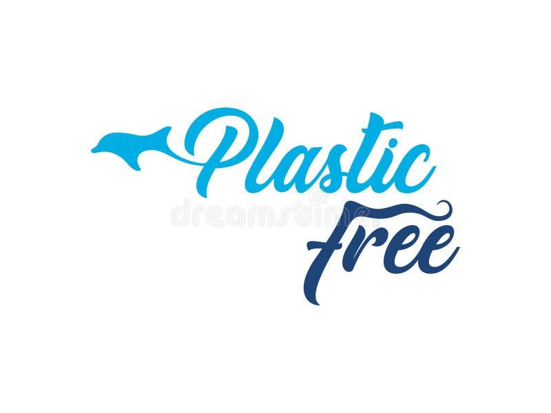 Plastic vrij embleem met gestileerde dolfijn stock illustratie