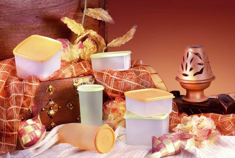 Plastic ware. On studio setting royalty free stock photography