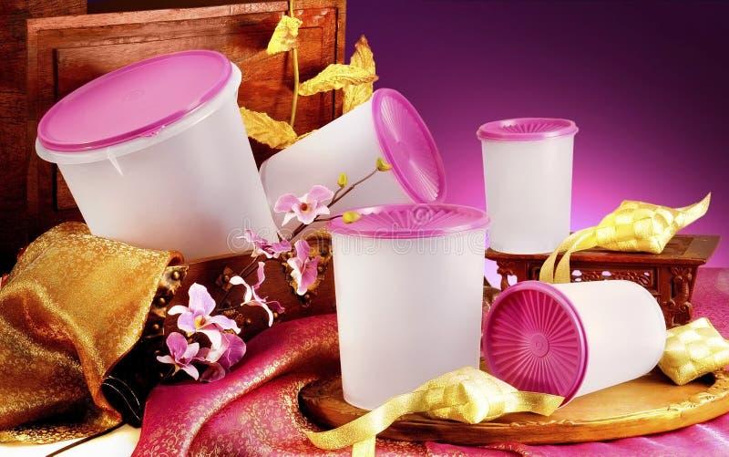 Plastic ware. On studio setting royalty free stock photo
