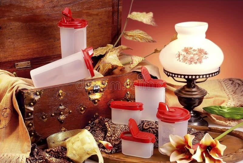 Plastic ware. On the studio lighting setting royalty free stock photo