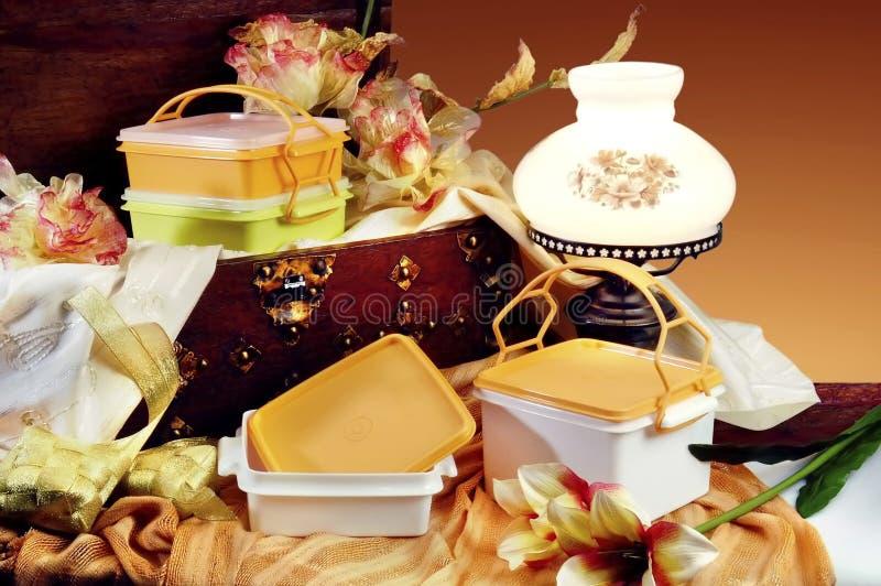 Plastic ware. On studio setting stock image