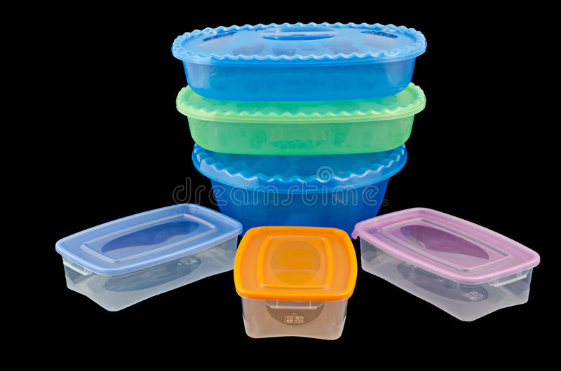 Plastic ware. Isolated on a black background stock photo