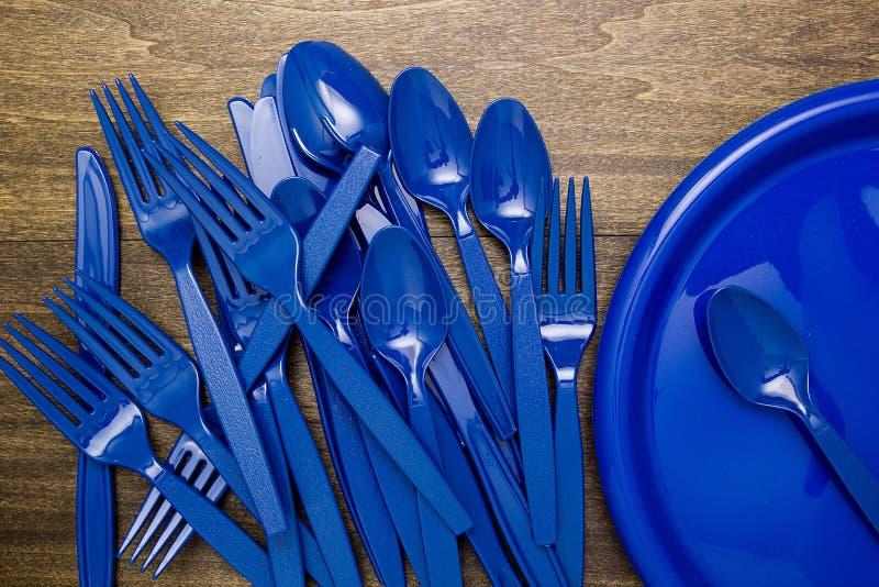 Plastic waren voor picknick stock afbeelding