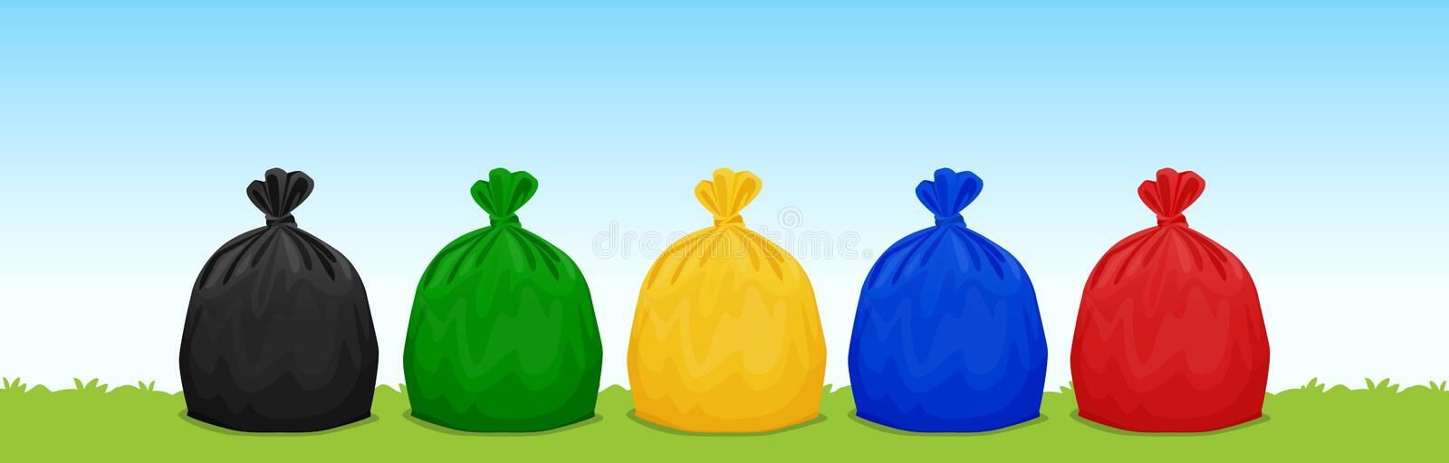 Plastic waste bags black, green, yellow, blue and red on the grass and sky background, set of colored garbage waste bags plastic vector illustration