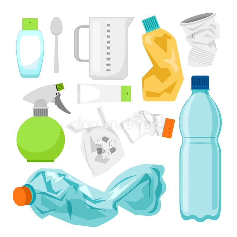 Plastic waste collection on white. Plastic bottles stock illustration