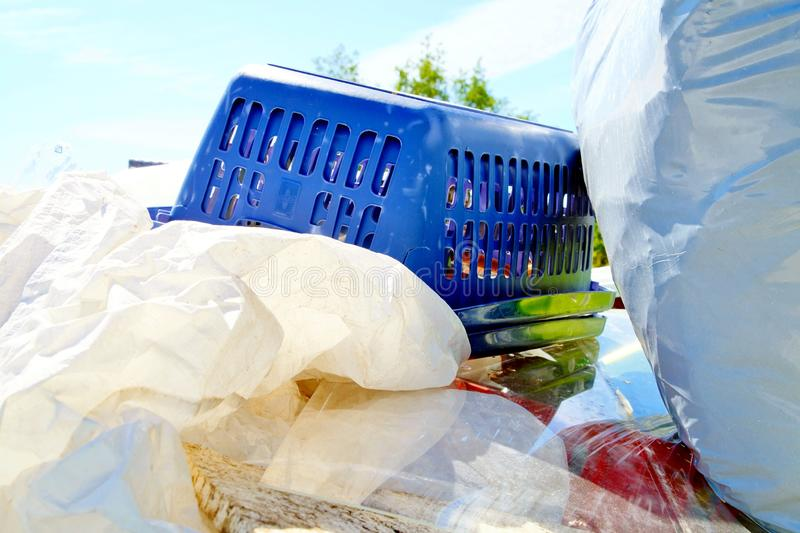 Large amount of used plastic about to be recycled. stock photo