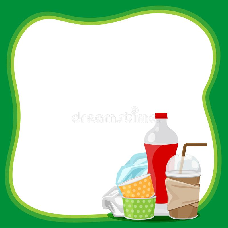 Plastic waste dump on template banner green frame and white background copy space, plastic bottle garbage waste on banner blank. The plastic waste dump on royalty free illustration