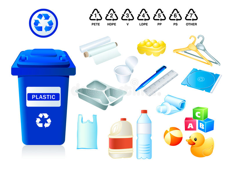 Plastic waste and garbage stock illustration