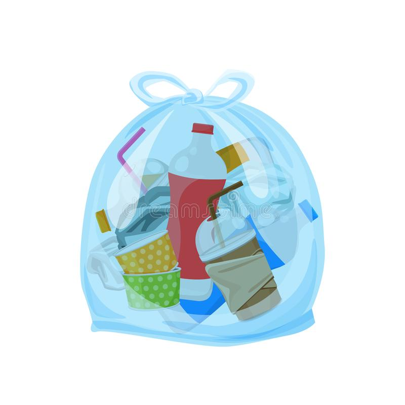 Plastic waste packed in the transparent plastic bags for waste separation isolated white square background, Illustration plastic stock illustration