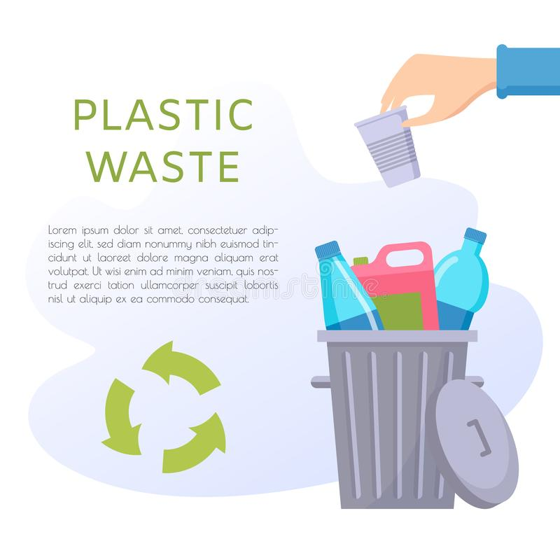 Plastic waste vector illustration. Home stuff - water bottle, cup, tube, package, canister. Recycling ecology problem isolate on white background objects vector illustration