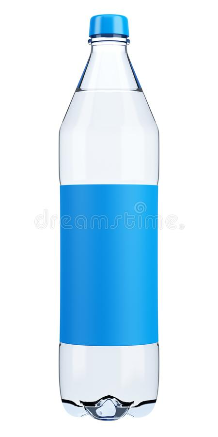 Plastic Water Bottle With Blank Label Template Isolated On White - Blank water bottle label template