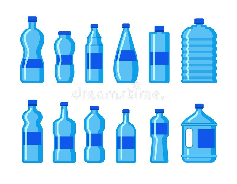 Plastic water bottle icon. Blue liquid container drink, bottle silhouette set. Water cartoon bottles royalty free stock photo