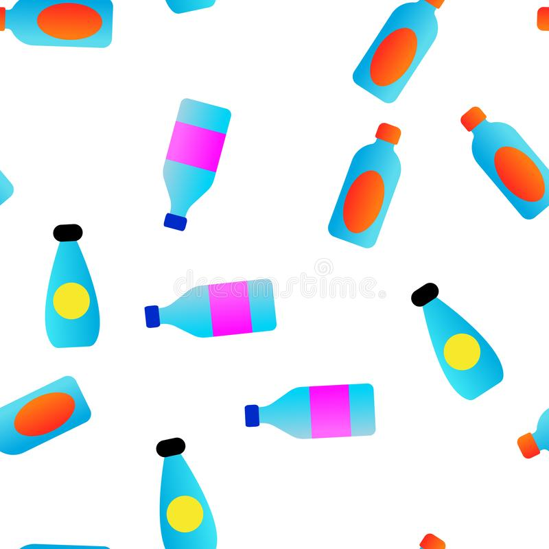 Plastic Water Bottle Linear Vector Seamless Pattern stock illustration