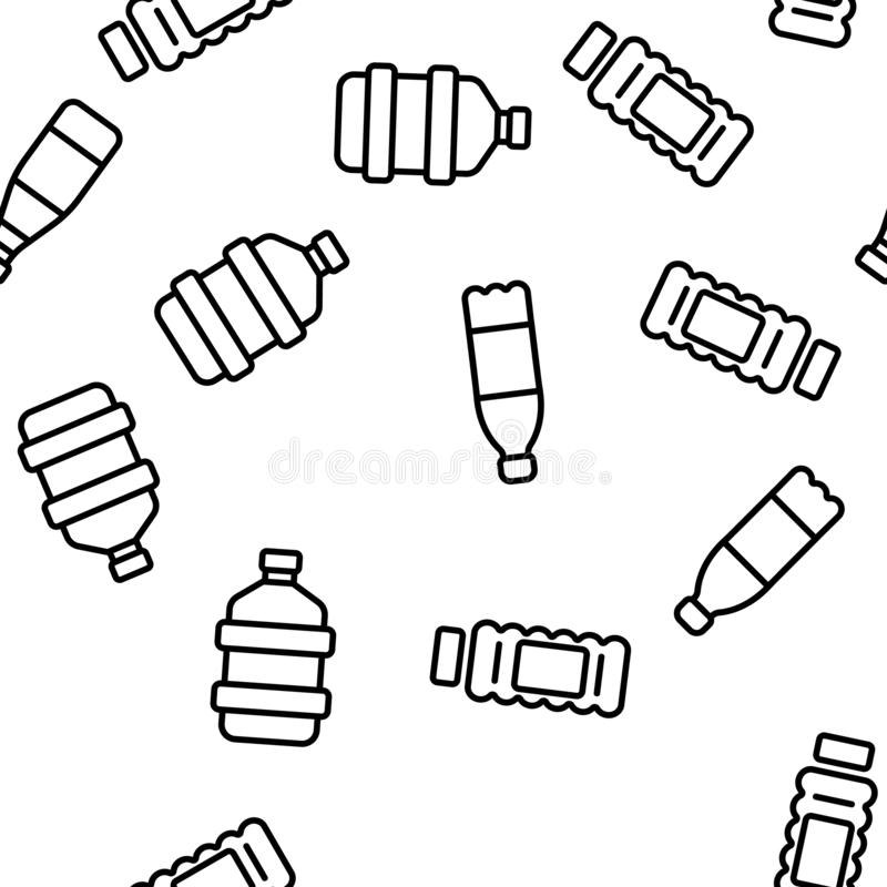Plastic Water Bottle Linear Vector Seamless Pattern vector illustration