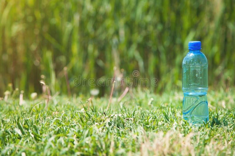 Plastic water bottle in outdoor stock photo