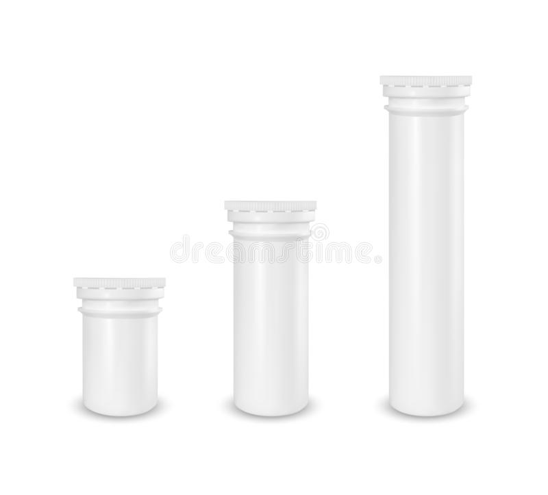 Plastic white tube. Packaging for effervescent vitamins and medicine.  royalty free illustration