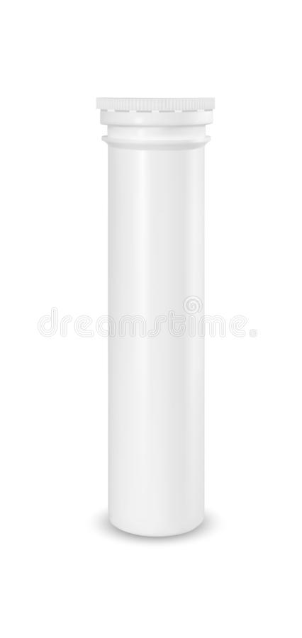 Plastic white tube. Packaging for effervescent vitamins and medicine.  vector illustration