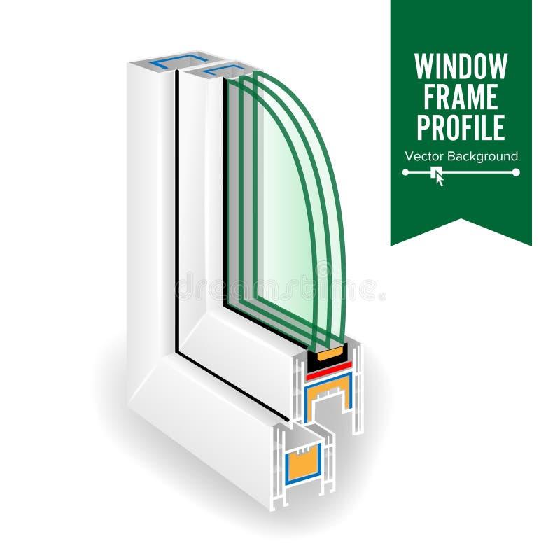 Plastic Window Frame Profile. Energy Efficient Window Cross Section. Three Transparent Glass. Vector Illustration royalty free illustration