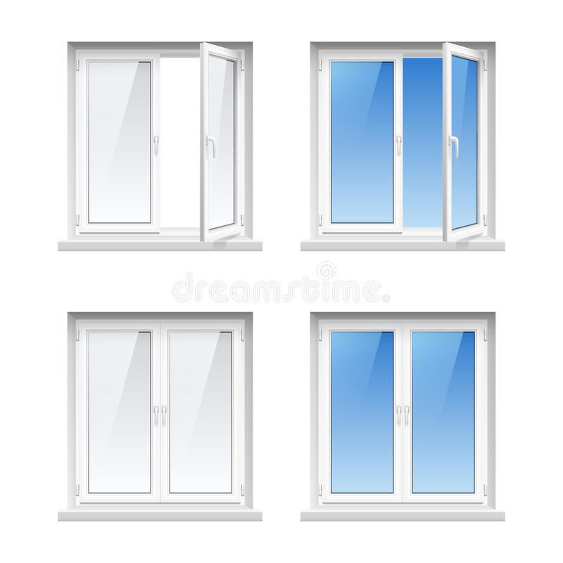 Plastic window frames 4 realistic icons set stock vector for Energy saving windows cost