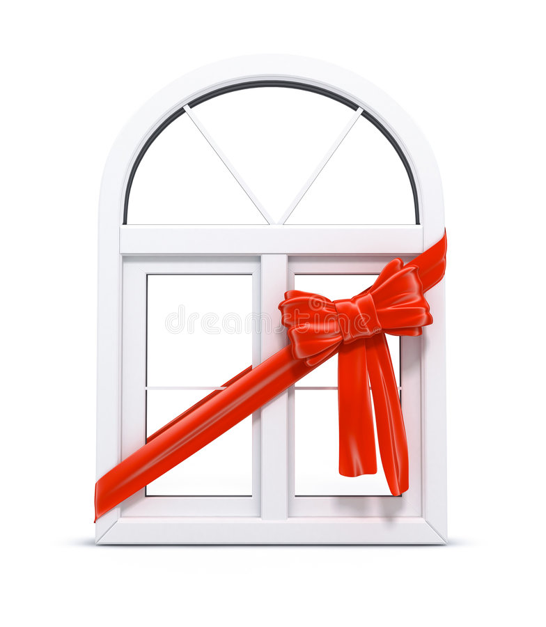Plastic window with red ribbon gift stock illustration