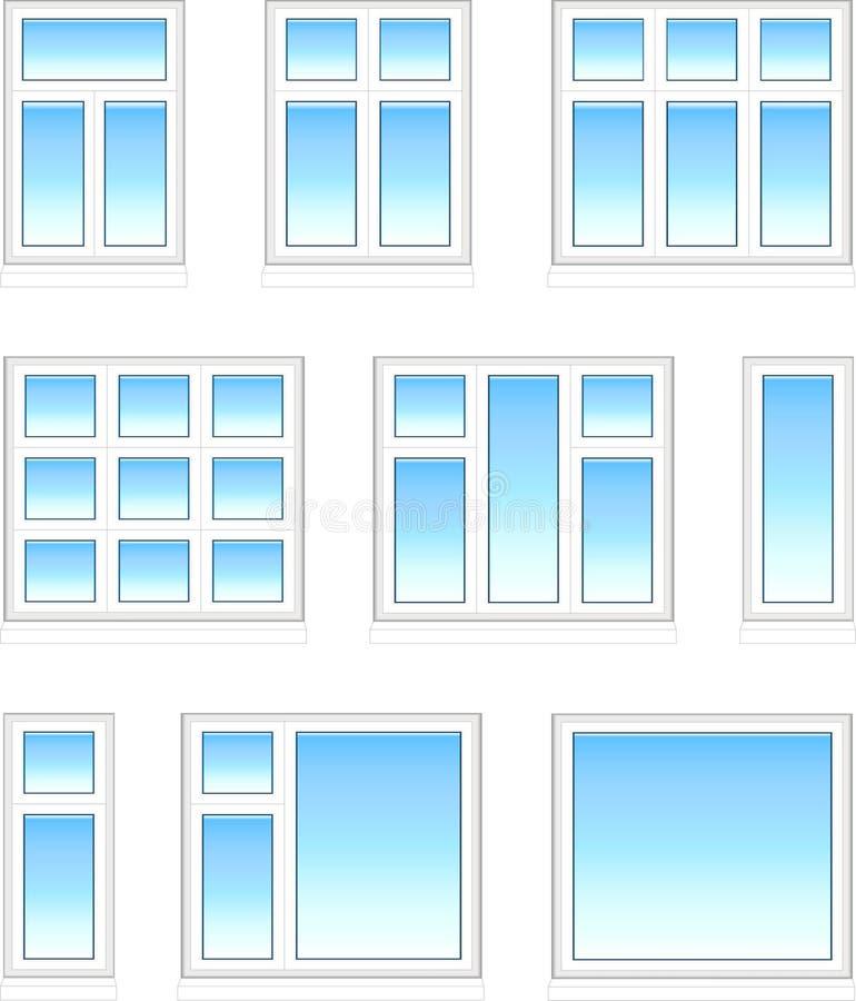Plastic windows in color stock photos