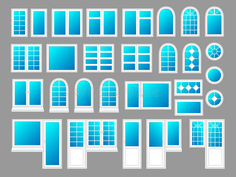 Plastic windows with doors, vector illustration set royalty free illustration