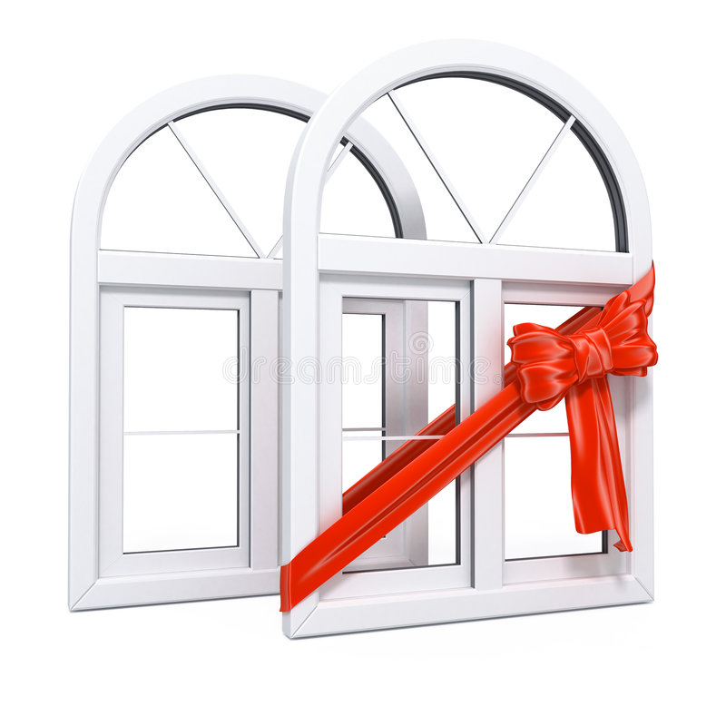 Plastic windows with red ribbon gift. White plastic windows with red ribbon as a gift 3d illustration over white background