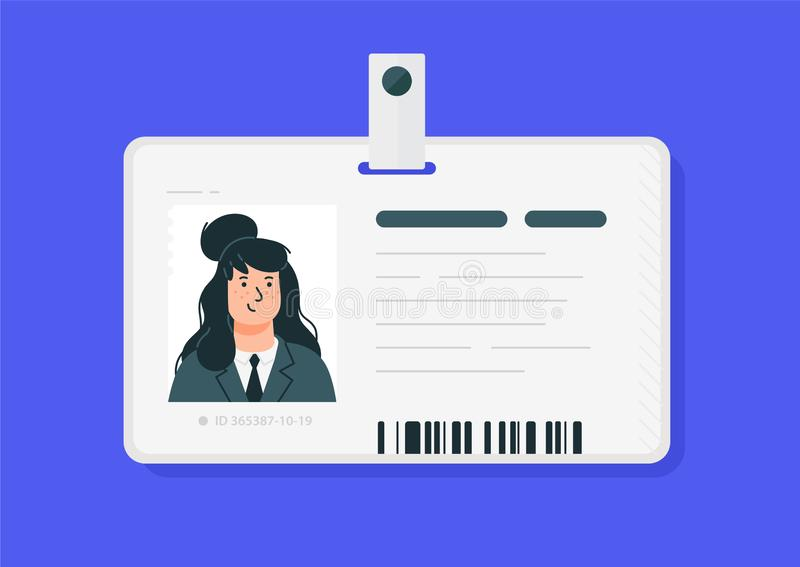 Plastic woman id cards. Vector. Car driver license isolated on a blue background. Flat cartoon style. Student, corporate pass.  vector illustration